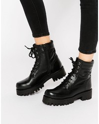 Park Lane Chunky Lace Up Leather Ankle Boots