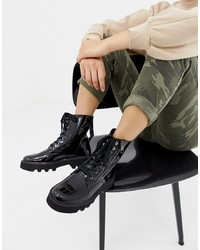 Calvin Klein Diahne Black Patent Leather Ankle Lace Up Boots With Zip Front Detail Patent Leather