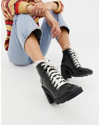 ASOS DESIGN Enola Leather Chunky Hiker Boots Leather