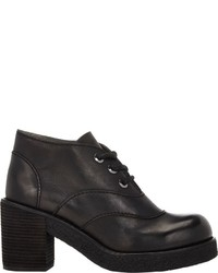Jil Sander Navy Leather Platform Ankle Boots Black