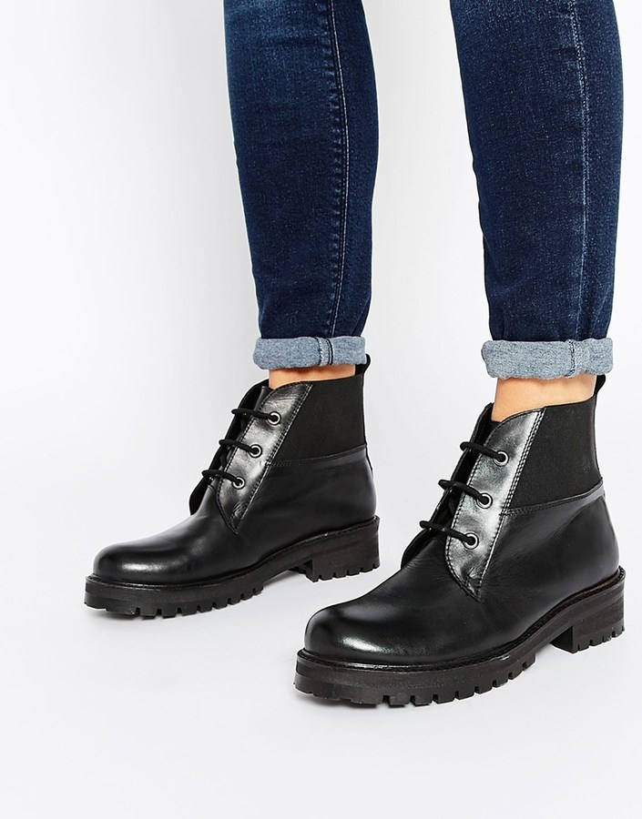 Park Lane Chunky Worker Lace Up Leather Ankle Boots | Where to buy ...