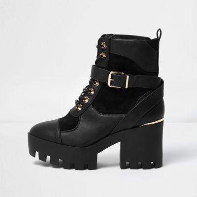 River Island Black Panel Chunky Platform Boots
