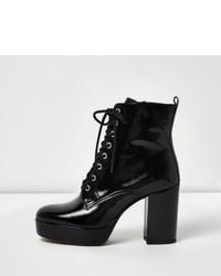River Island Black Patent Leather Platform Heel Boots