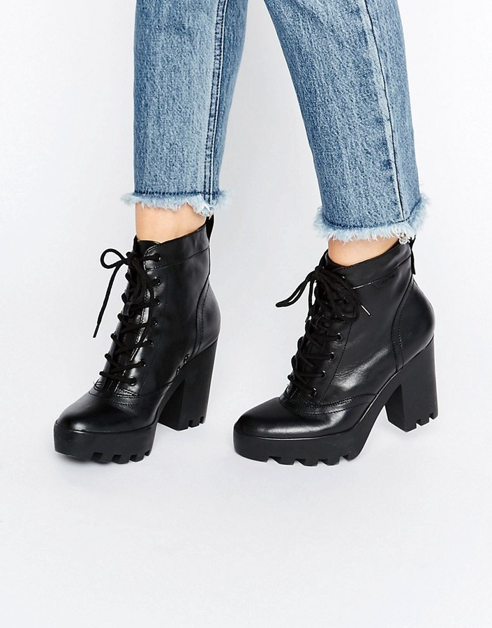 748bb2a6010b1 ... Calvin Klein Jeans Serena Chunky Heeled Leather Lace Up Heeled Ankle  Boots ...