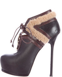 Saint Laurent Yves Shearling Tribtoo Booties