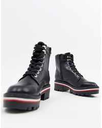 Black Chunky Leather Lace-up Flat Boots