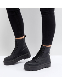 ASOS DESIGN Attitude Wide Fit Chunky Lace Up Boots