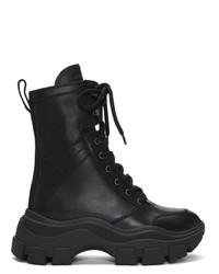 Prada Black Leather Mid Calf Boots