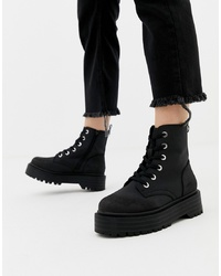 New Look Chunky Flatform Boot In Black