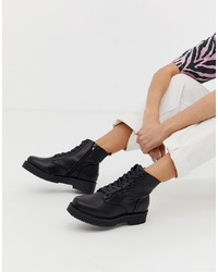 New Look Chunky Flatform Lace Up Flat Boot In Black