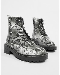 New Look Lace Up Flat Hiker Boots In Snake Print Pattern