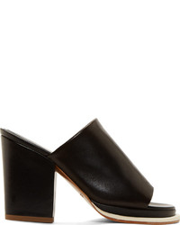 Robert Clergerie Black Leather Astro Heeled Mules