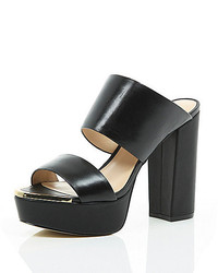 River Island Black Leather Block Heel Platform Mules