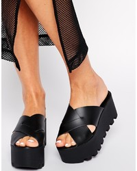 Asos Collection Hide Away Leather Flatform Mules