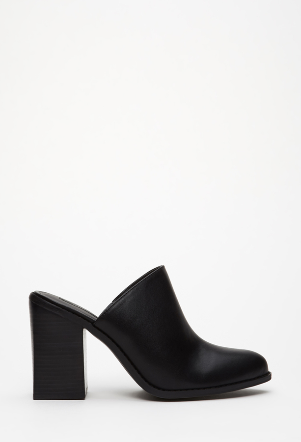 Forever 21 Faux Leather Block Heeled