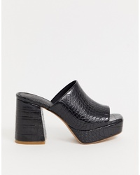ASOS DESIGN Happy Chunky Platform Mules In Black Croc