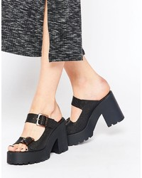 Miista Rachel Chunky Heeled Leather Mules