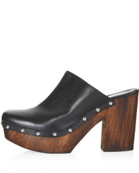 Topshop Smock Leather Mule Platform Clogs