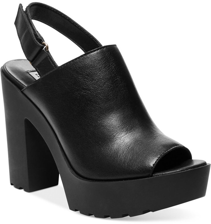 49cfc3c8dfcd ... Black Chunky Leather Mules Steve Madden Tequila Platform Mules ...