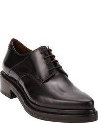 Black Chunky Leather Oxford Shoes