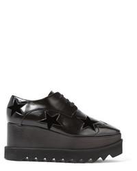 Stella McCartney Velvet Trimmed Faux Leather Platform Brogues Black