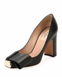 Valentino Garavani Chunky Heel Metal Toe Leather Pump