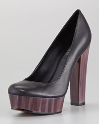 Rachel Zoe Leila Leather And Painted Heel Platform Pump
