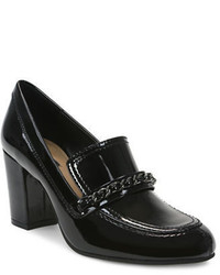 Tahari Loren Patent Leather Chunky Heeled Tailored Loafers