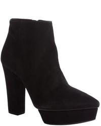 Prada Black Suede Pointed Toe Heel Platform Booties