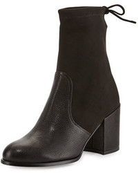 Stuart Weitzman Shorty Suedeleather Chunky Heel Bootie Black