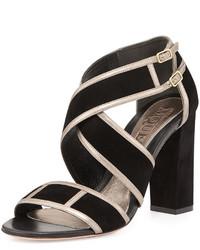 Alexander McQueen Crisscross Chunky Heel Sandal Black