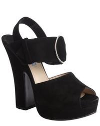 Prada Black Suede Buckle Strap Peep Toe Platform Sandals