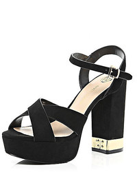 River Island Black Suede Cross Front 70s Platform Sandals