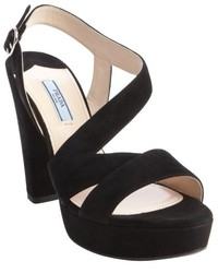 Prada Black Suede Strappy Platform Sandals