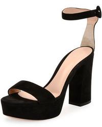 Gianvito Rossi Coco Suede Platform Ankle Wrap Sandal