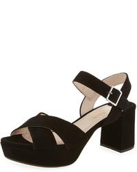 Prada Crisscross Suede Platform Sandal Black