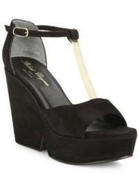Robert Clergerie Daisy Suede Chain Platform T Strap Sandals
