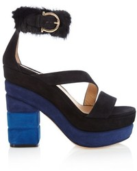 Salvatore Ferragamo Lev Suede And Fur Trim Sandals