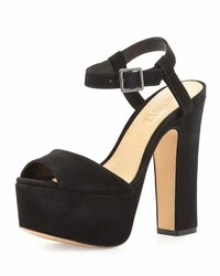 Schutz Lorraine Peep Toe Platform Suede Sandal Black
