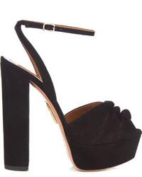 Aquazzura Mira Knot Suede Platform Sandals