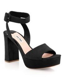 Miu Miu Suede Ankle Strap Platform Sandals
