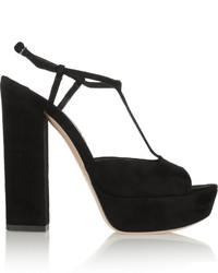 Miu Miu Suede T Bar Platform Sandals