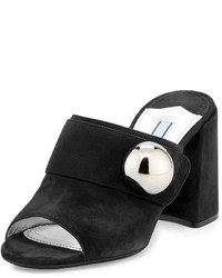 Prada Suede Chunky Heel Slide Sandal Black