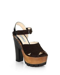 Prada Suede Wooden Platform Sandals Brown Black
