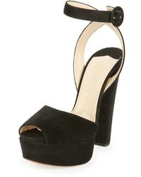 Prada Suede Platform Ankle Wrap Sandal Black