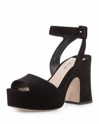 Miu Miu Suede Platform Ankle Wrap Sandal