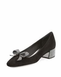 Crystal bow 30mm chunky heel pump black medium 767629