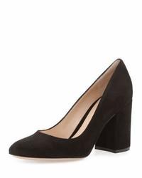 Suede 85mm chunky heel pump black medium 791589