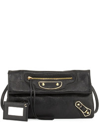 Balenciaga Metallic Edge Lambskin Envelope Clutch Bag Blackgold