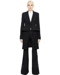 Alexander McQueen Wool Crepe Coat With Peplum